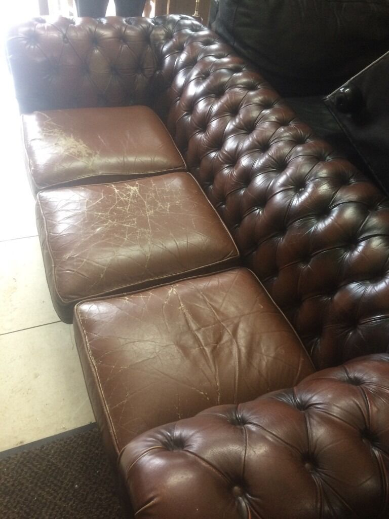 chesterfield sofain Partick, GlasgowGumtree - Chesterfield 3 seater sofa ,in brown , the cushions are a bit stressed but the frame is in good condition with plenty life in the old girl and looks great ,you will not be disappointed I also have 2 lovely large classy sofas leather with feather...