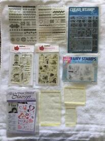 Clear rubber stamps + 3 acrylic blocks