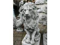 "Pair of Cast Stoneware Garden Lions 24"" tall"