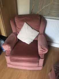 3 seat sofa, 2 chairs and footstool