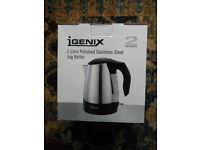 Small unused IGENIX cordless jug kettle, 1 litre, stainless steel, BNIB - caravan/b&b/bedsit