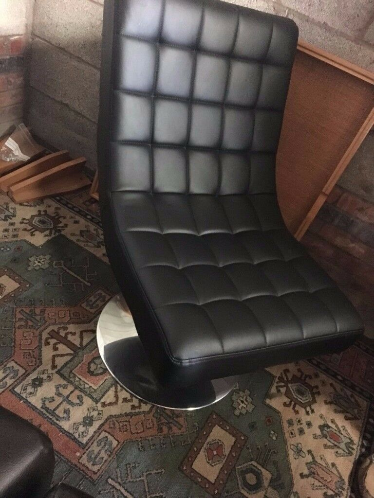 Black Swivel Chair Faux Leather