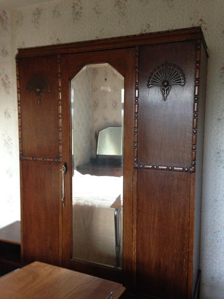 Beautiful Vintage Art Deco Wardrobe With Original Key