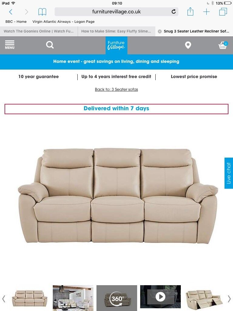 Furniture Village Guarantee cream leather furniture village 3 seater electric recliner sofa