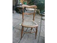 VINTAGE WOODEN CHAIR WITH STRING SEAT
