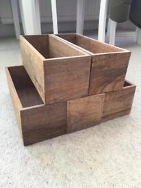 Set of 5 solid wood boxes