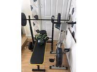 Bench and weights, bike, kettle bell and abs set