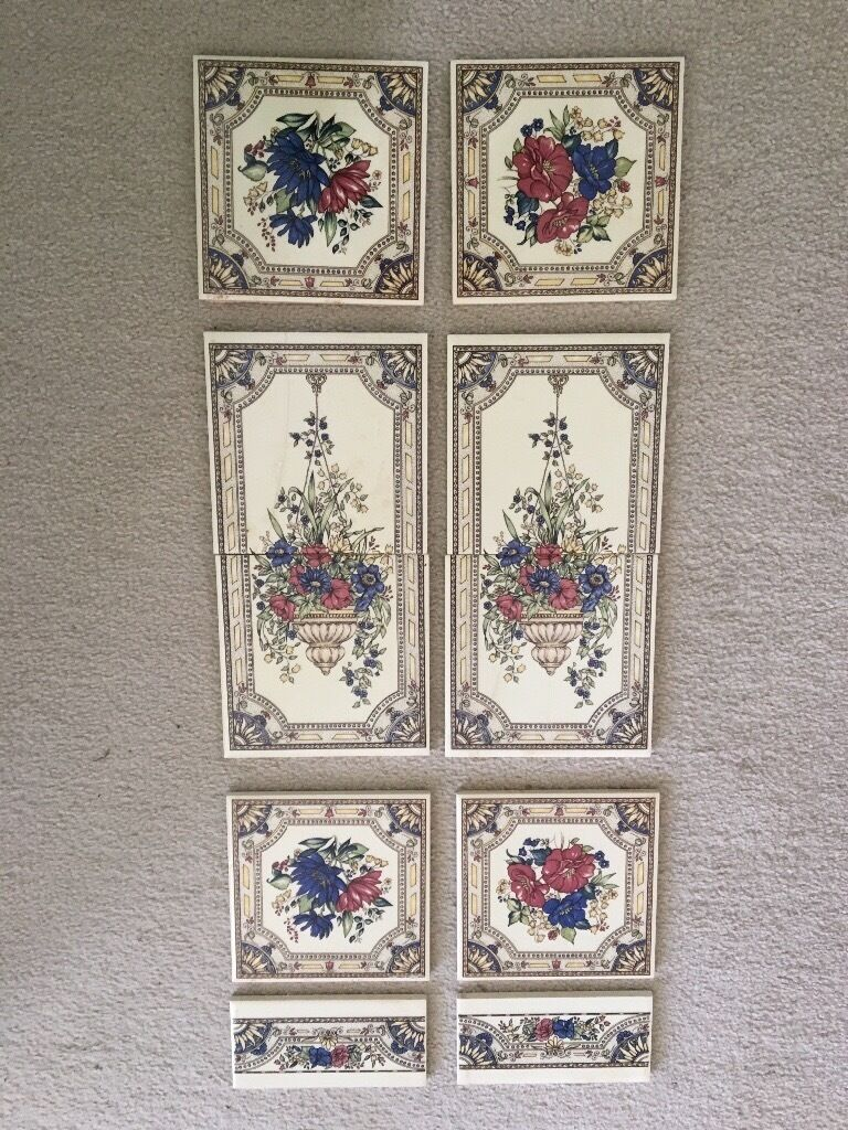 salvaged reclaimed fireplace floral victorian tiles in