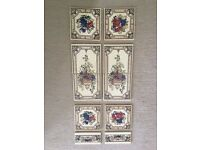 Salvaged reclaimed fireplace floral Victorian (?) tiles