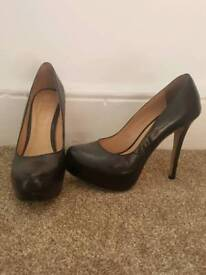 Black leather high stiletto heels size 6