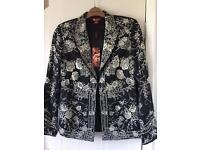 Black and Cream Silk Jacket from Monsoon - Size 10 RRP £199 -