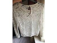 Topshop size 10 lace white crop top! Grab it while it lasts..Worn twice only.