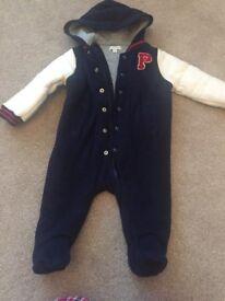 Ralph Lauren jumpsuit and Mamas and Papas snowsuit