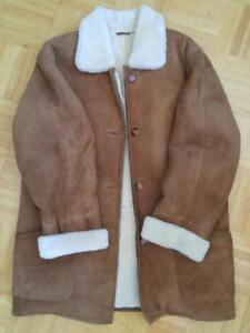 Oakville Comfy DANIER LEATHER 100% Sheepskin Shearling Coat Womens fits 12 to 14 OVERSIZED M : GO BY the MEASUREMENTS!