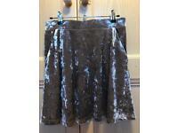 Ladies Topshop Silver Velvet Skirt UK 10