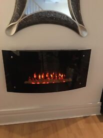 Black glass curved electric fire