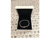 Pandora Silver Bracelet With Rose Clasp
