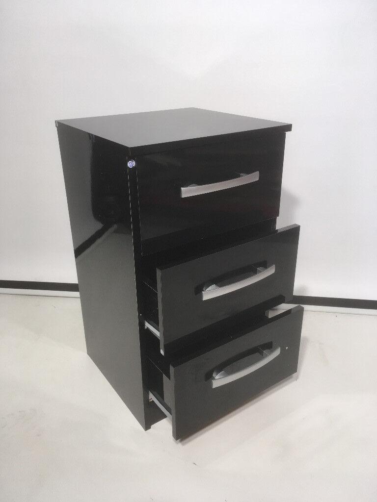 Birlea Lynx High Gloss All Black 3 Drawer Bedside Cabinet Chest Bedroom