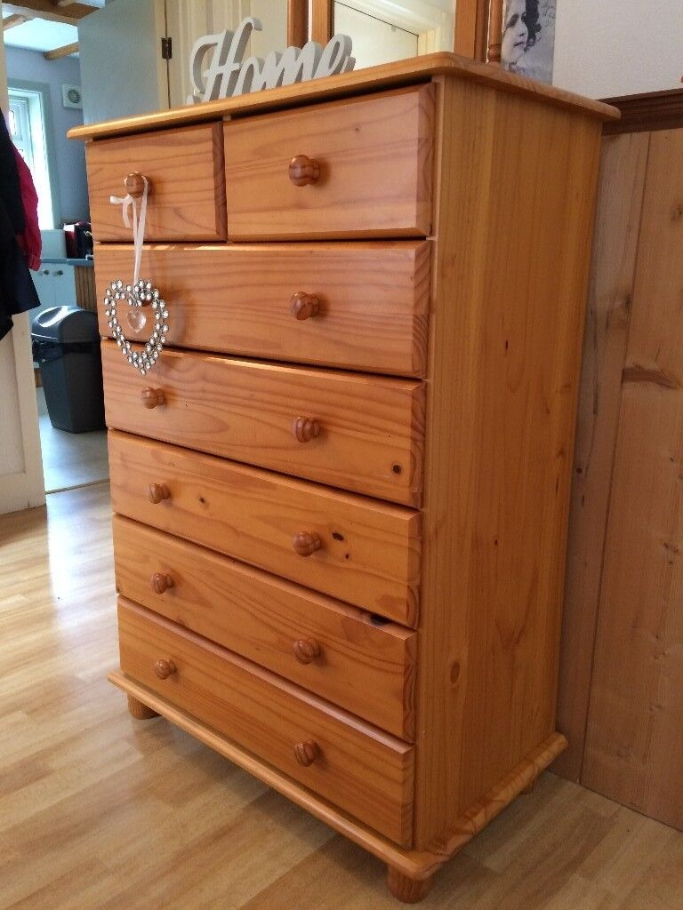 SUPERB LARGE SOLID PINE CHEST OF DRAWERS WITH BUN FEET@@ | in Exeter ...