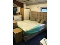 6ft Mattress, base and headboard in mink champagne/beige chenille fabric