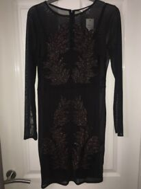 Miss selfridge black dress with gold glitter size 12 never worn tags on