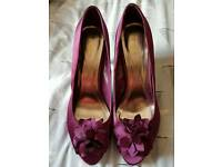 Monsoon purple peep toe shoes. Size 7/40