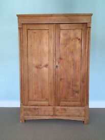 Original Antique Pine Wardrobe Cupboard - Hanging Rail - Light Wood Colour