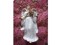 TRADITIONS VINTAGE Christmas Angel Ornament Incense Large Porcelain Figurine White Gold Decorations