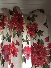 Cream and red lined curtains for sale