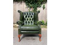 Gorgeous Chesterfield / Queen Anne Style Green Leather Wingback Armchair