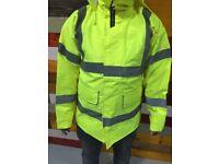30 warrior hi viz yellow coats and bombers mix sizes job lot