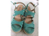 Near New mint green suede like New Look wedges heels Size UK 6