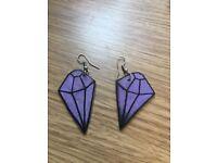 Purple jewel shrinky dink earrings