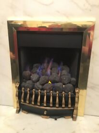 hite marble effect fireplace with Flavel Richmond remote control Gas fire