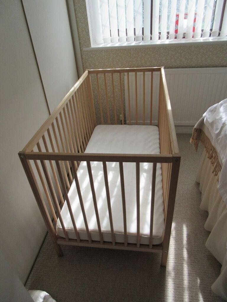 Ikea Sniglar cot, Vyssa mattress & waterproof mattress protector.
