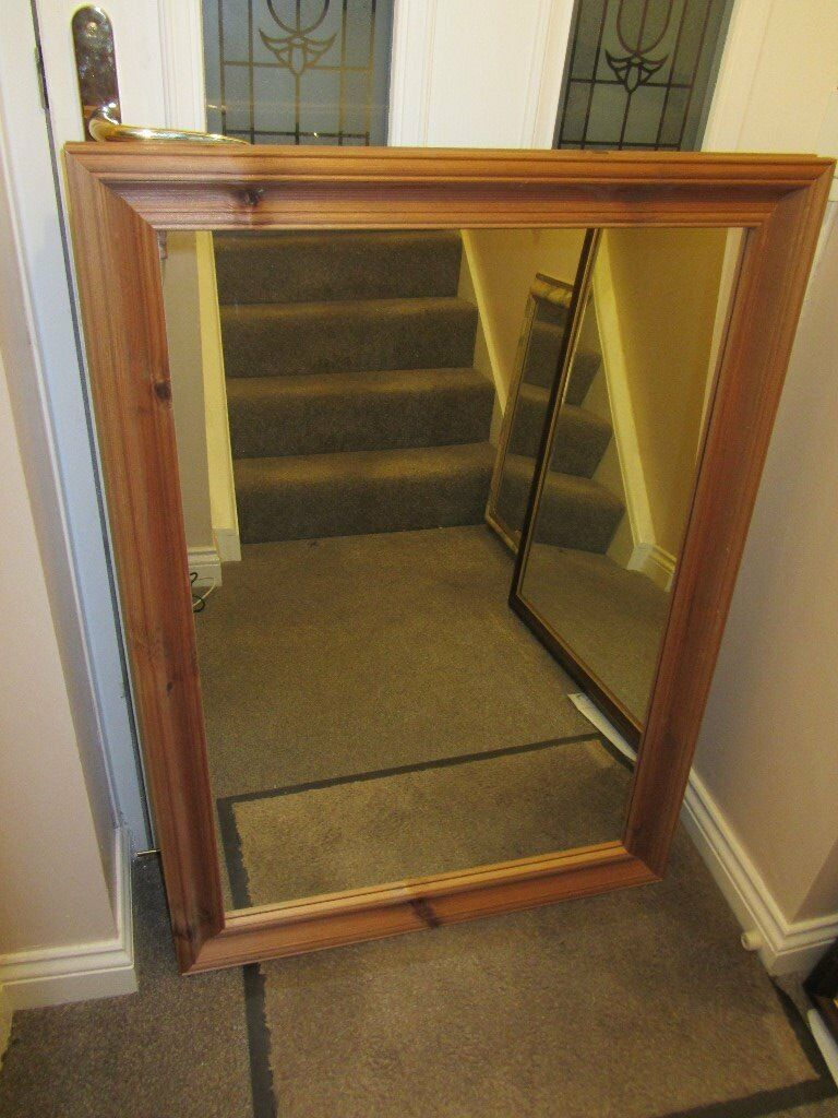 Large Pine-framed Bevelled Edge Wall Mirror
