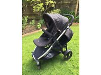 Britax B-Dual black tandem pushchair complete with second seat