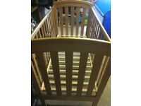 Wooden Fixed Sided Cot with movable base as child grows
