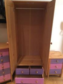 Girls pine wardrobe, chest of drawers and bedside table drawers