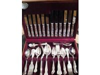 Dazzling Silver Plated 44 Piece Cutlery Set. Cooper Ludlam Sheffield. Boxed.