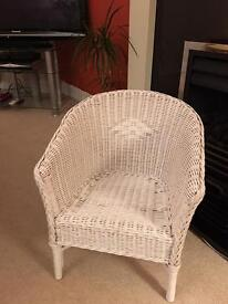 Child's White Rattan Chair