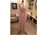 Size U.K. 12, Debut by DEBENHAMS, rouched, dusky pink/lilac, long length bridesmaids dress.
