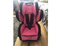 Recaro car seat pink from 9m-12yrs