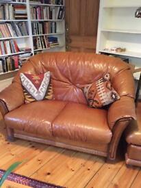 Leather 2 seatr sofa & two armchairs ...v comfortable