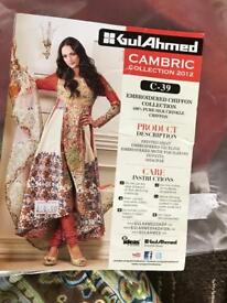 Original Gul Ahmed summer cambric heavy embroidered chiffon scarf unstitched amazing deal