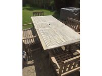 Garden table. Bench and chairs