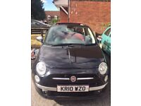 Black Fiat 500 convertible Red leather 2010