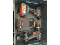 bosch two piece drill set with 4 amp battery, charger and L-box