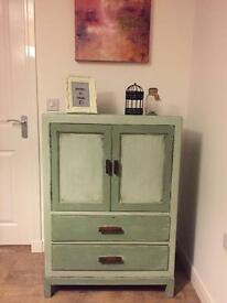 Unique upcycled cupboard, chest of drawers in chalk light/green finish
