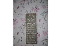 Wall clock shabby chic ,lovely clock with comedy sayings,ideal man cave/kitchen